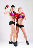 Two boxing women — Foto Stock