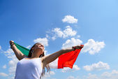 Woman holding italian flag — Stock Photo