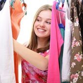 Teen girl in shop — Stock Photo