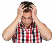 Depression flu young man with headache — Foto Stock