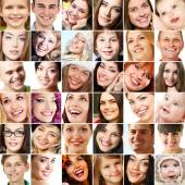 Collage of smiling faces. — Stock Photo