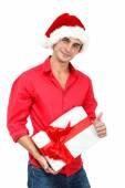 Christmas man with gift box — Stock Photo