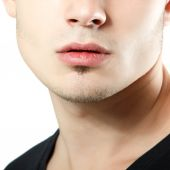 Male lips, chin and cheekbone — Stock Photo