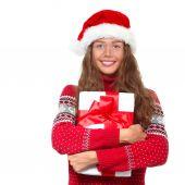 Christmas girl in santa's hat — Stock Photo