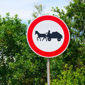 Horse with cart sign — 图库照片