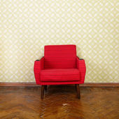 Room with old  red armchair — Stock Photo