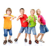 Happy children dancing — Stock Photo