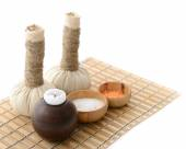 Herbal balls, candlestick, stones and salt — Stock Photo