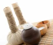 Herbal balls, candlestick and salt — Stock Photo