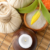 Spa still life with  herbal balls — Stock Photo