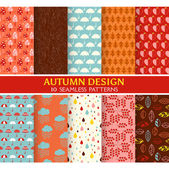 10 Seamless Patterns - Autumn Set - Texture for wallpaper — ストックベクタ