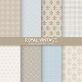 8 Seamless Patterns - Royal Vintage Set - Texture for wallpaper — Stock Vector