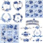 Vintage Floral Set - Frames, Ribbons, Backgrounds — Stock Vector #53325711