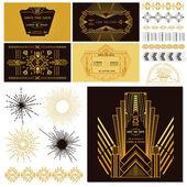 Art Deco oder Gatsby Dekorations-Set - für Hochzeit, Party-Dekoration — Stockvektor