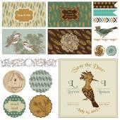 Vintage Bird Party Set - for Party Decoration, Scrapbook, Wedding — Stock Vector