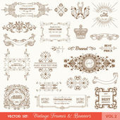 Vector Set: Vintage Frames and Banners, Calligraphic Design Elements — Stok Vektör