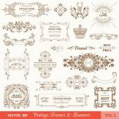 Vector Set: Vintage Frames and Banners, Calligraphic Design Elements — Stock vektor