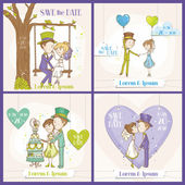 Save the Date Wedding Card Set - Bride and Groom Couple — Vector de stock