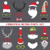 Christmas Retro Party set - Glasses, hats, lips, mustaches — Stockvector