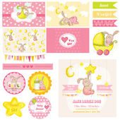 Scrapbook Design Elements - Baby Shower Bunny Theme - in vector — Stockvektor
