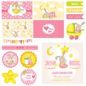 Scrapbook Design Elements - Baby Shower Bunny Theme - in vector — 图库矢量图片