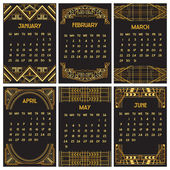 Art Deco or Gatsby Calendar 2015 - English, starts with Sunday — Stock Vector