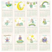 Baby Bear Calendar 2015 — Stock Vector