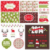 Christmas Retro Party Set - cards, ribbons, labels, party masks  — Stock Vector