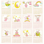 Baby Bunny Calendar 2015 - week starts with Sunday - in vector — Stock Vector