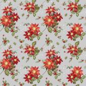 Christmas Seamless Background - Poinsettia in Watercolor — Stock Vector