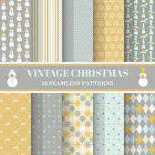 Christmas Retro Set - 10 seamless patterns — Stock Vector