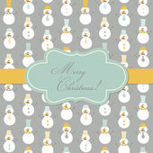 Vintage Christmas Card - Retro Snowman with Mustache and Hats — Stock Vector