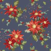 Retro Christmas Seamless Background - Vintage Poinsettia — Stock Vector