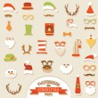 Christmas Retro Party set - Glasses, hats, lips, mustaches, mask — Stock Vector #57690433