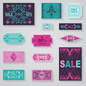 SALE Tags and Labels - Tribal and Aztec Style - in vector — Stock Vector