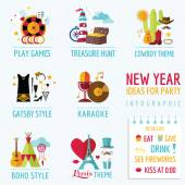 New Year Infographic - Party Ideas and Themes - in vector — Stock Vector
