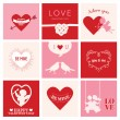 Set of Love Cards for Valentine's Day - Hearts, Frames, Cupids — Stock Vector #59226311