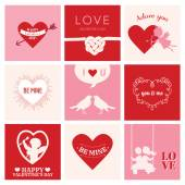 Set of Love Cards for Valentine's Day - Hearts, Frames, Cupids — Stock Vector