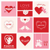 Set of Love Cards for Valentine's Day - Hearts, Frames, Cupids — Vector de stock