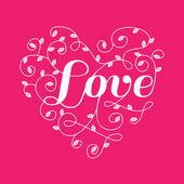 Floral Heart with Love Word - for Valentine's Day - in vector — Vetor de Stock