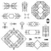 Art deco vinobraní rámce a prvky návrhu - ručně kreslenou — Stock vektor