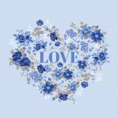 Vintage Floral Heart - for Valentine's Day - in vector — Vector de stock