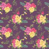 Flower Background - Seamless Floral Shabby Chic Pattern — Vector de stock