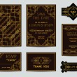 Set of Wedding Cards - Art Deco Vintage Style - in vector — Stock vektor #63818861