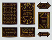 Set of Wedding Cards - Art Deco Vintage Style - in vector — Stock Vector