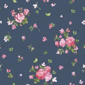 Flower Background - Seamless Floral Shabby Chic Pattern — Vetor de Stock