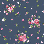 Flower Background - Seamless Floral Shabby Chic Pattern — Stockvektor