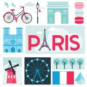 Paris Card - Places and Museum in Paris - in vector — Stock Vector