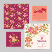 Set of Wedding Floral Invitation Cards - Save the Date, RSVP — Stock Vector