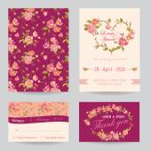 Invitation Congratulation Card Set - for Wedding, Baby Shower — Stock Vector